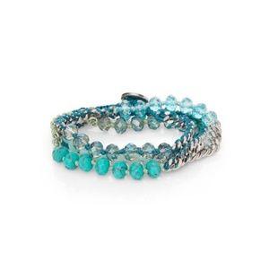 Bead + Chain Multi-Wrap Bracelet (Turquoise)